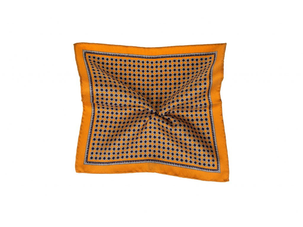 Oranžový kapesníček s modrým ornamentem a okrajem