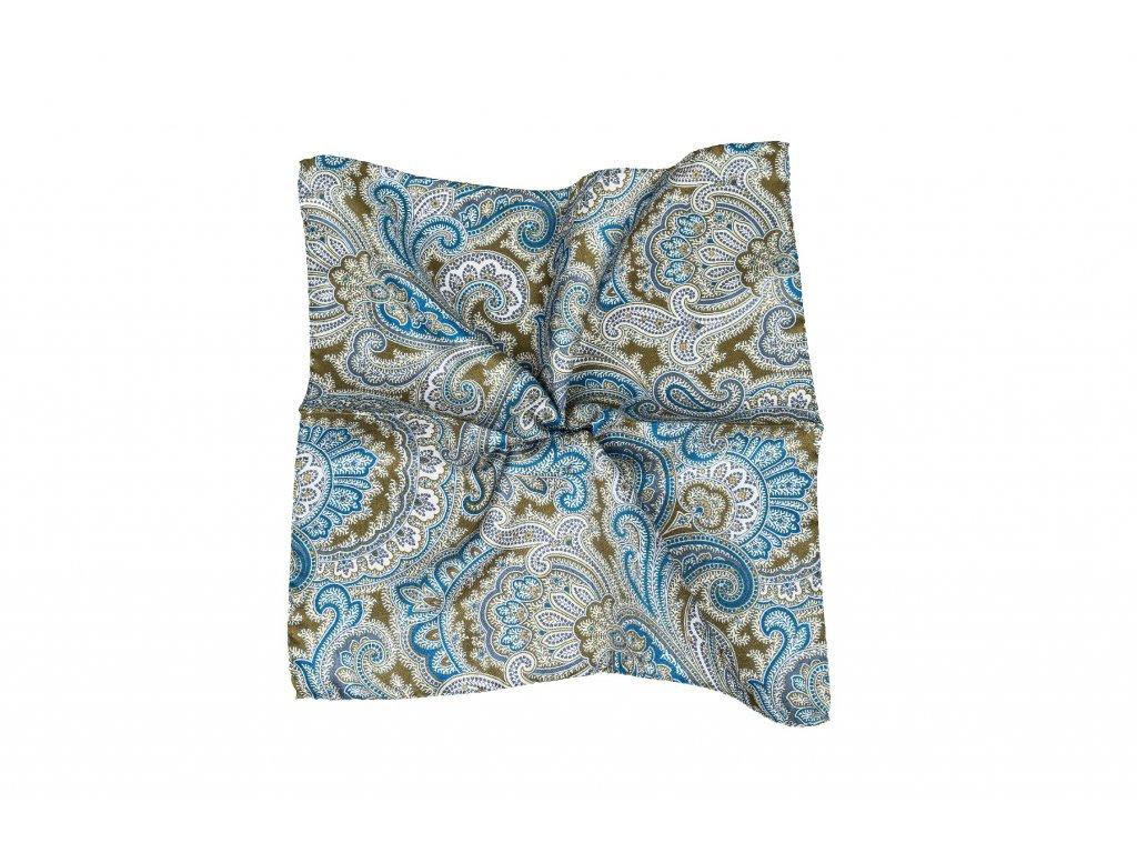Khaki kapesníček s modrým paisley vzorem