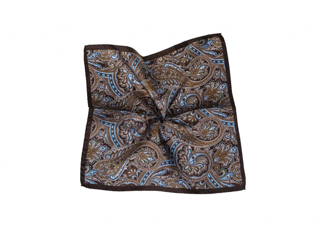 Hnědý kapesníček s paisley vzorem