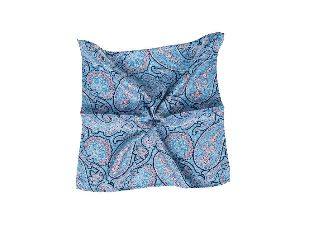 Světle modrý kapesníček oboustranný s paisley vzorem a květy