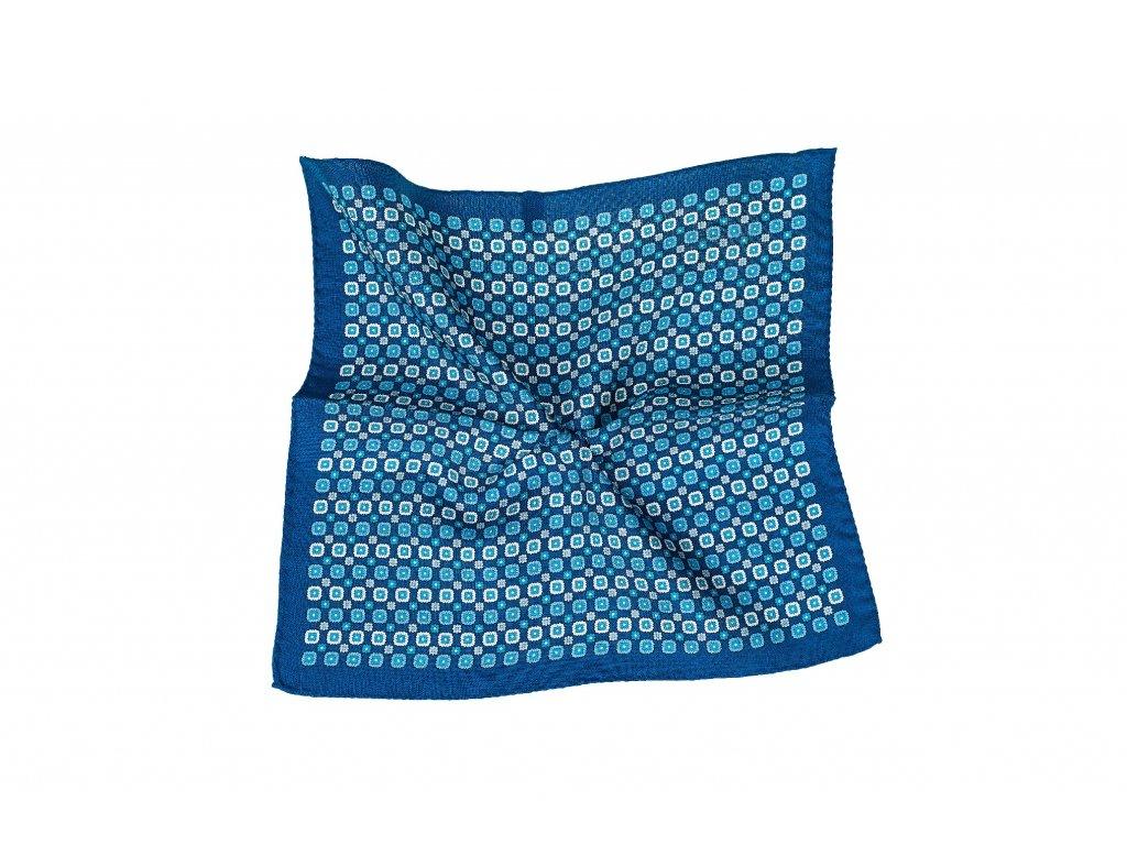 Modrý kapesníček s ornamentem a okrajem