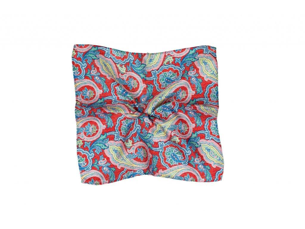 Červený kapesníček s modrým paisley vzorem