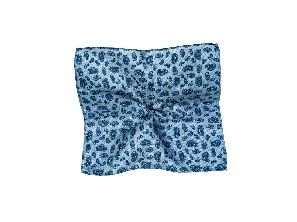 Světle modrý kapesníček s modrým paisley vzorem