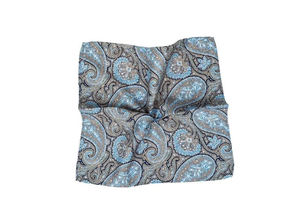 Béžový kapesníček oboustranný s paisley vzorem a květy