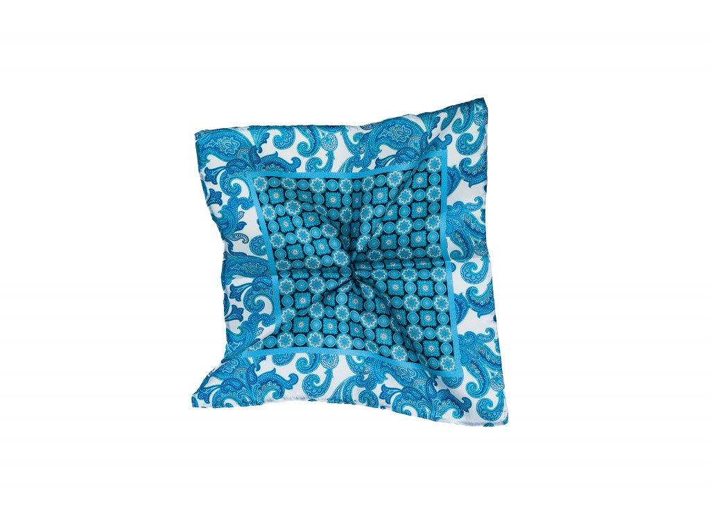 Světle modrý kapesníček s ornamentem a paisley okrajem