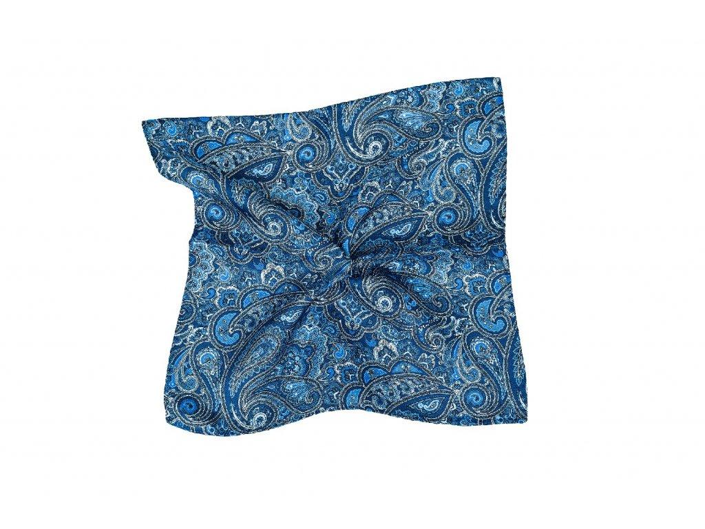 Tmavě modrý kapesníček s modrým paisley vzorem