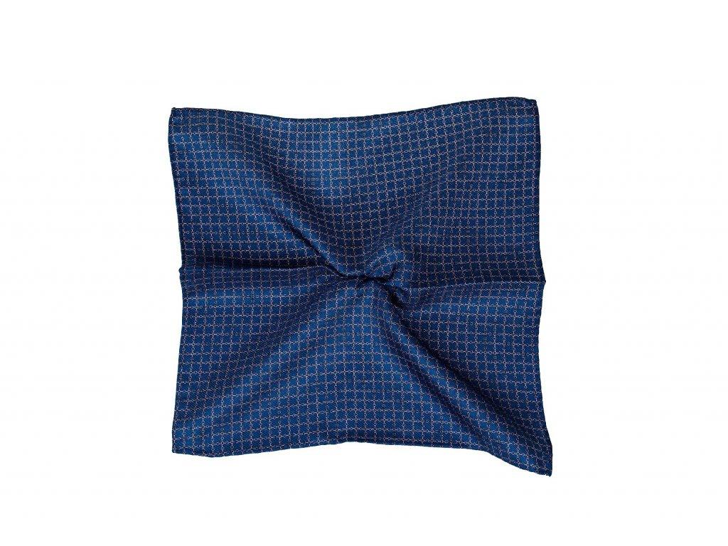 Tmavě modrý kapesníček s růžovou mřížkou