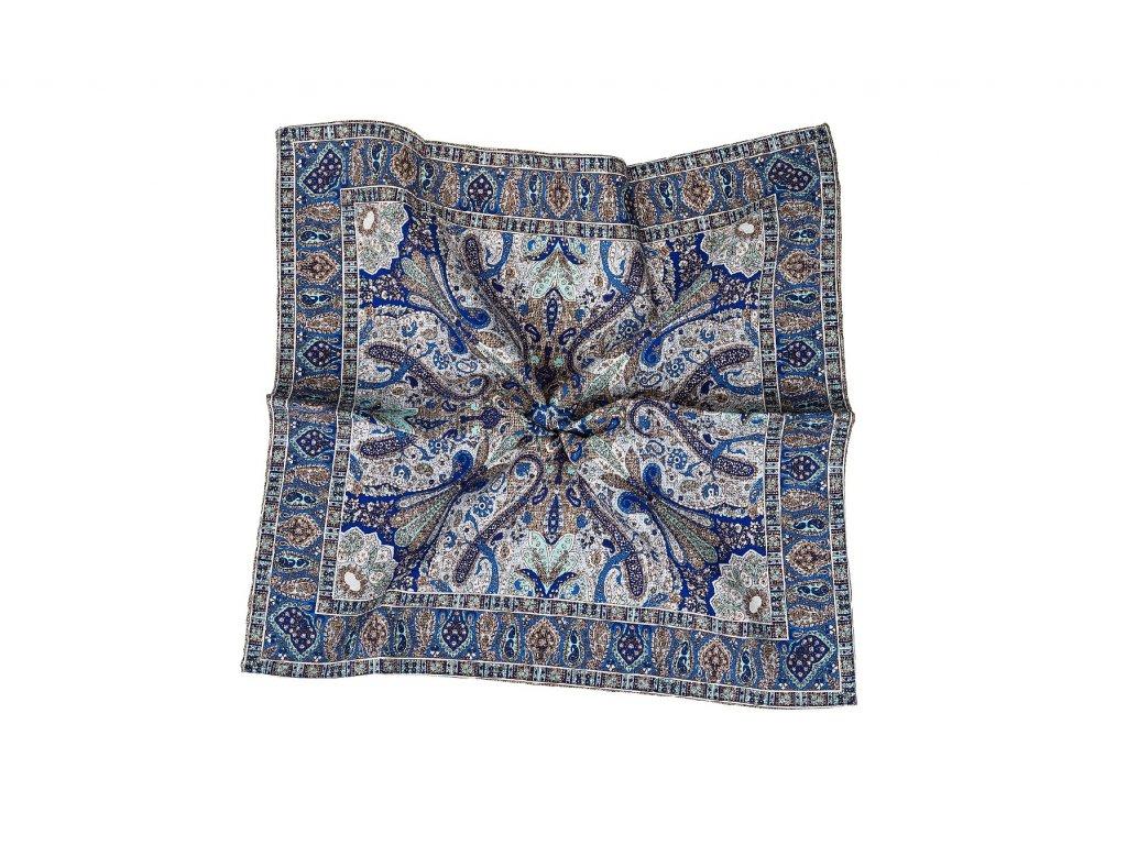 Hnědý kapesníček oboustranný s modrým vzorem a tečkami