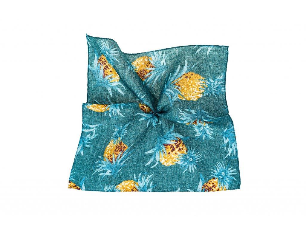 Modrý kapesníček s ananasy