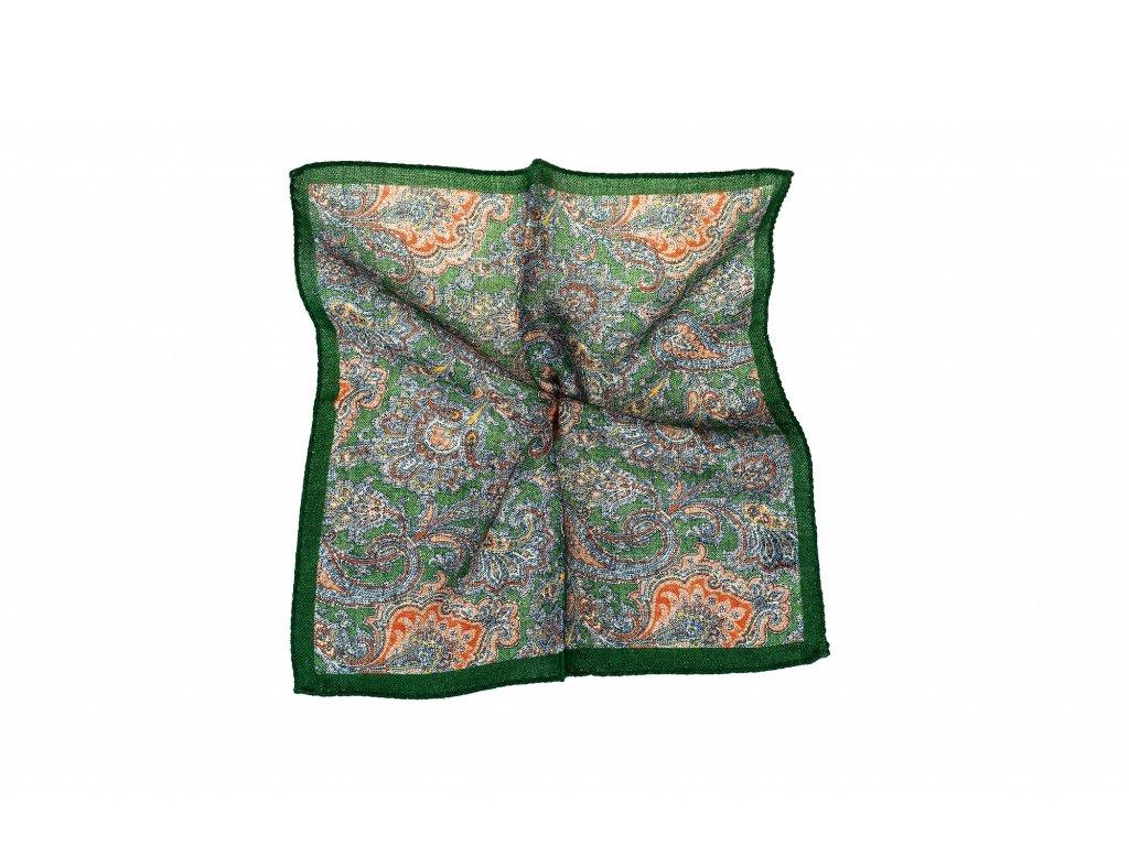Zelený kapesníček s oranžovým paisley vzorem a okrajem
