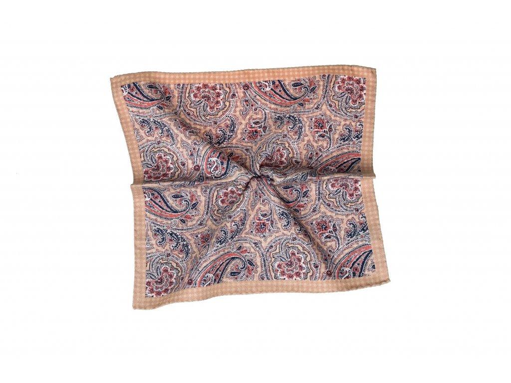 Starorůžový kapesníček oboustraný s paisley vzorem a kostičkami