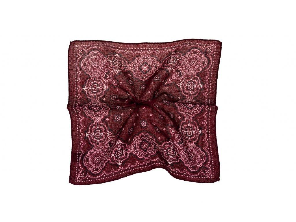 Bordový kapesníček s ornamentem