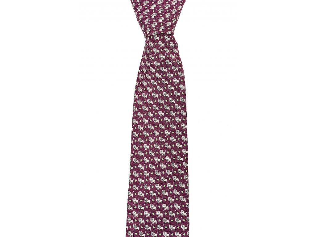 Vínová twin kravata se lvy