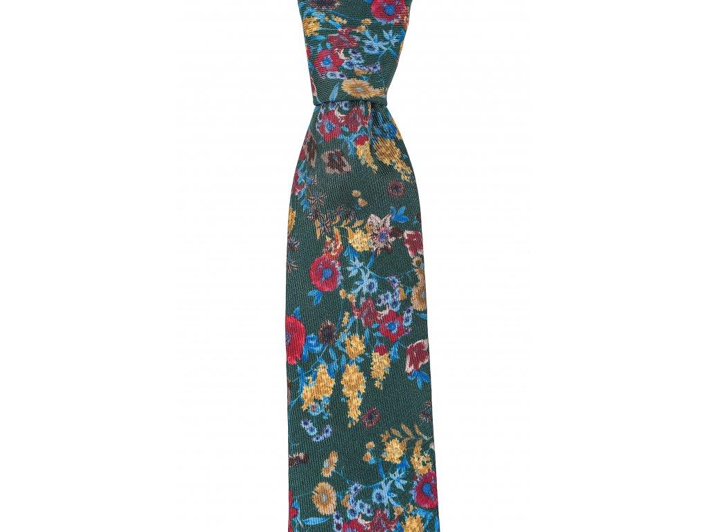 Zelená twin kravata s větším květinovým vzorem
