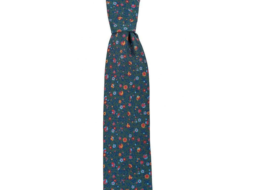 Zelená twin kravata s drobnějším květinovým vzorem