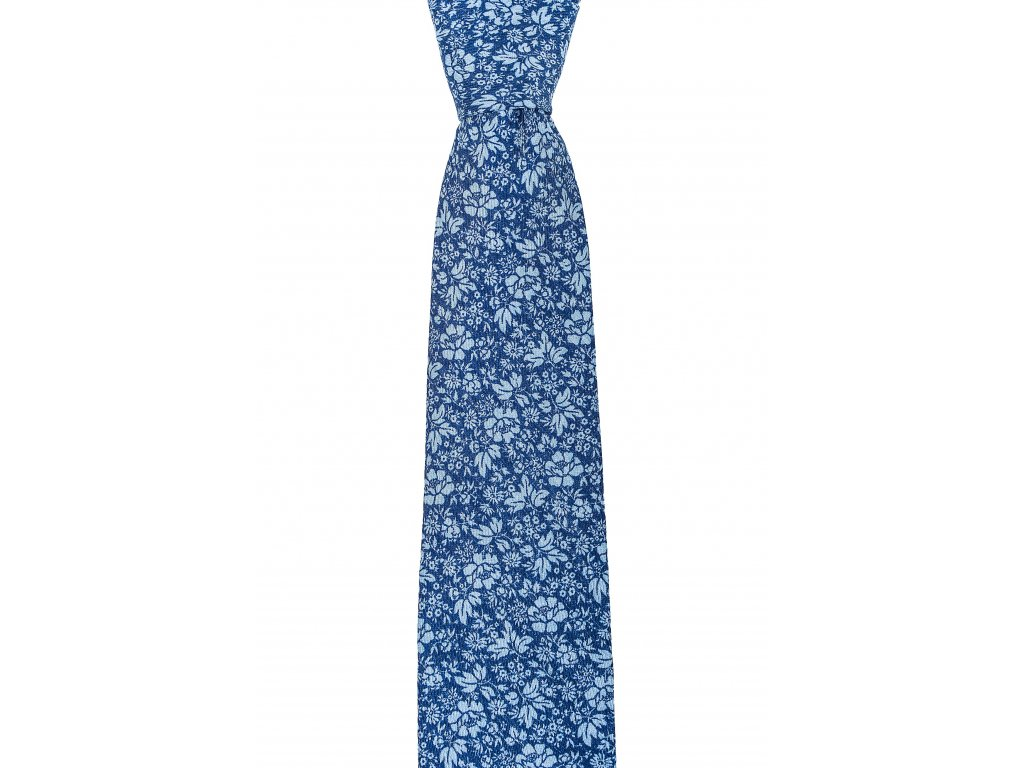 Modrá twin kravata s větším květinovým vzorem