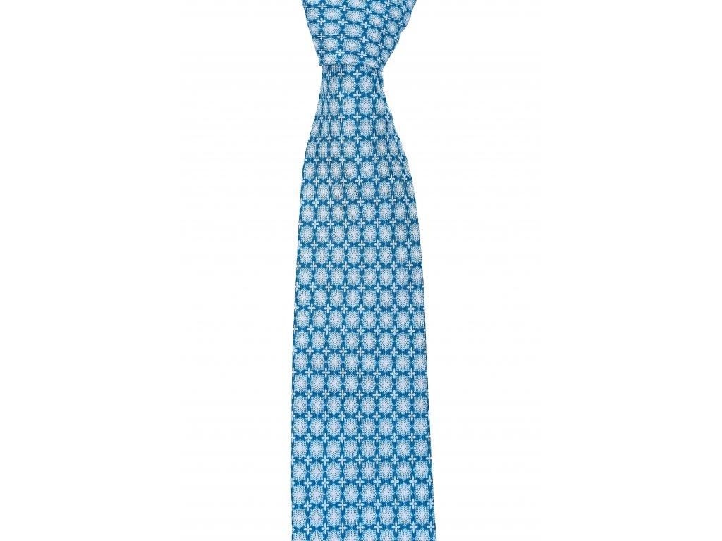 Tyrkysová twin kravata se vzorem