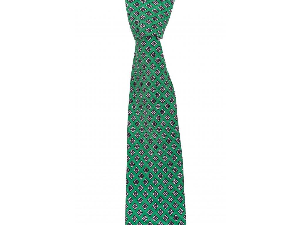 Zelená twin kravata se vzorem