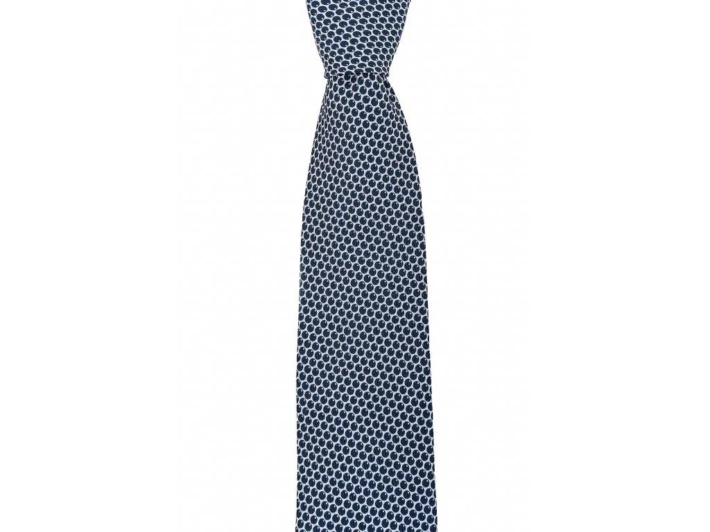 Tmavě modro-bílá puntíkovaná twin kravata