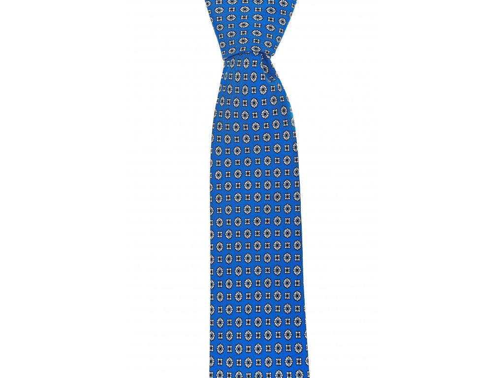 Modrá twin kravata se vzorem
