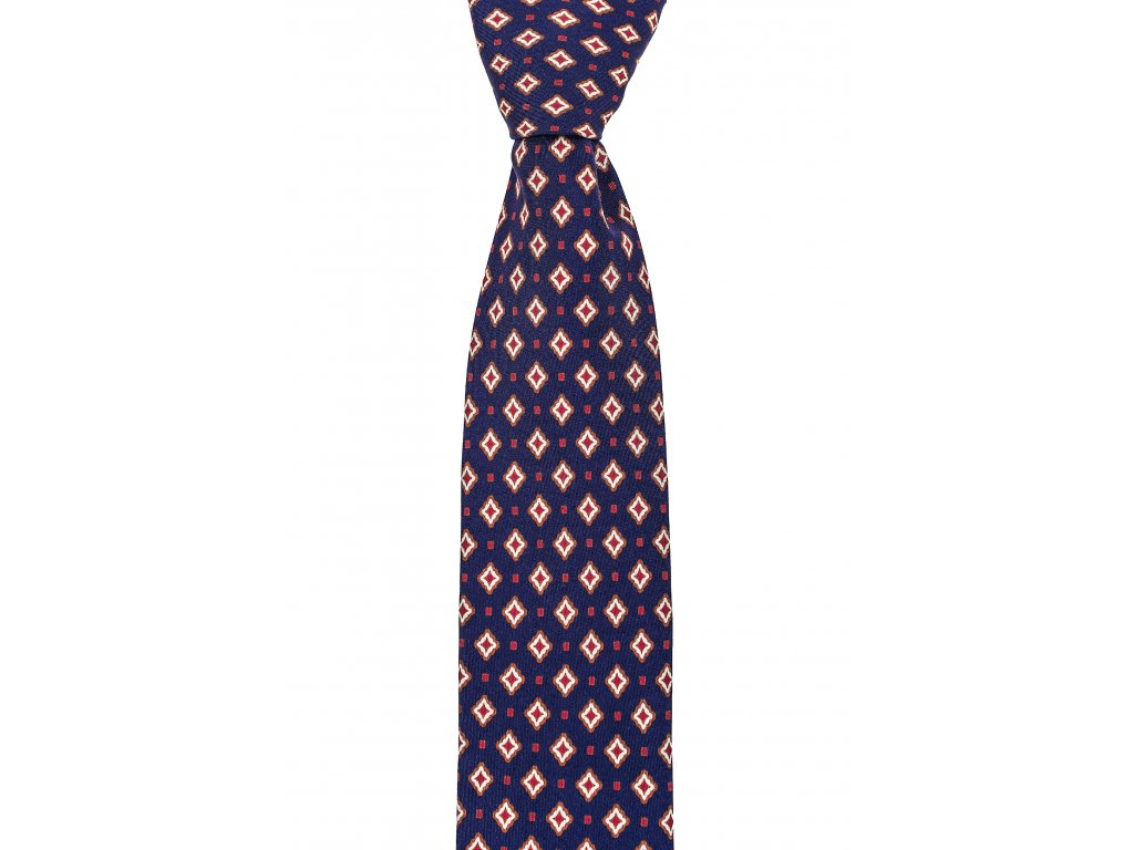 Tmavě modrá twin kravata s červeným vzorem