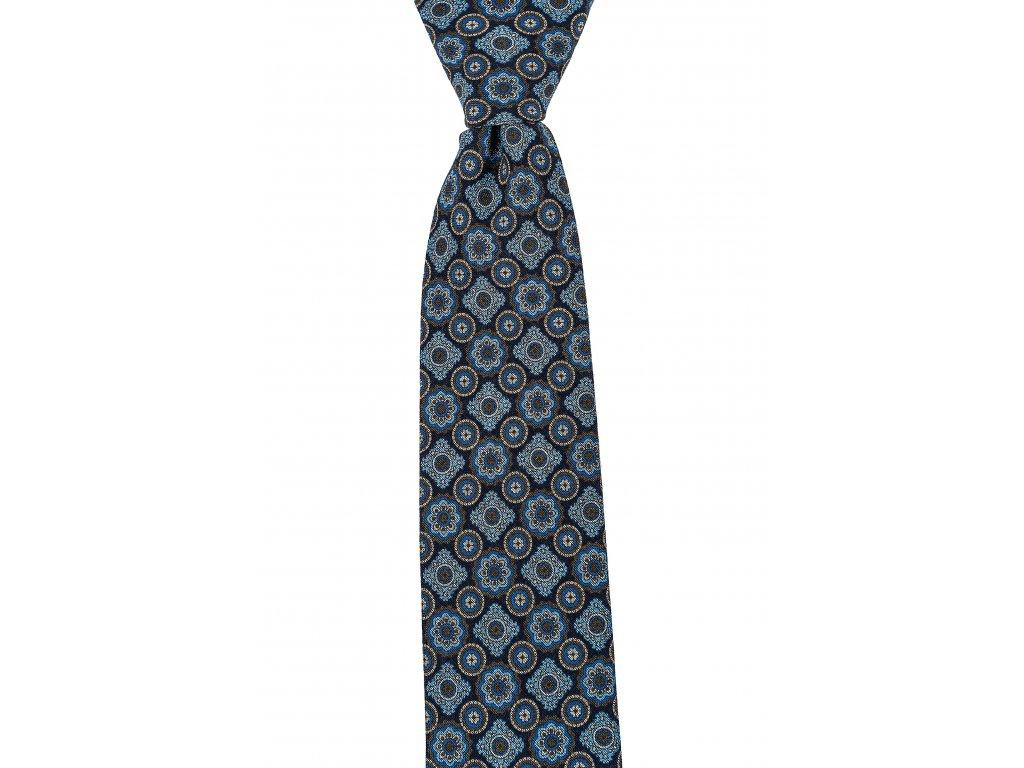 Tmavomodrá twin kravata se světle modrým vzorem