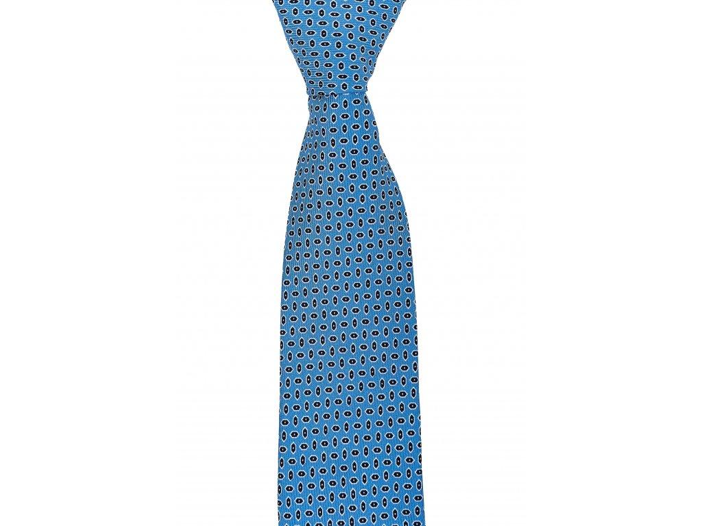 Světle modrá twin kravata s černým vzorem