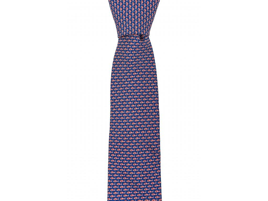 Modro-oranžová twin kravata s rybičkovým vzorem