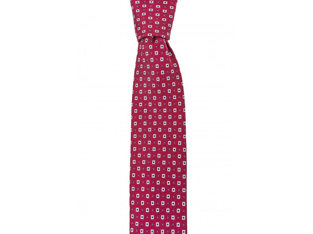 Červená twin kravata s modrými kostičkami