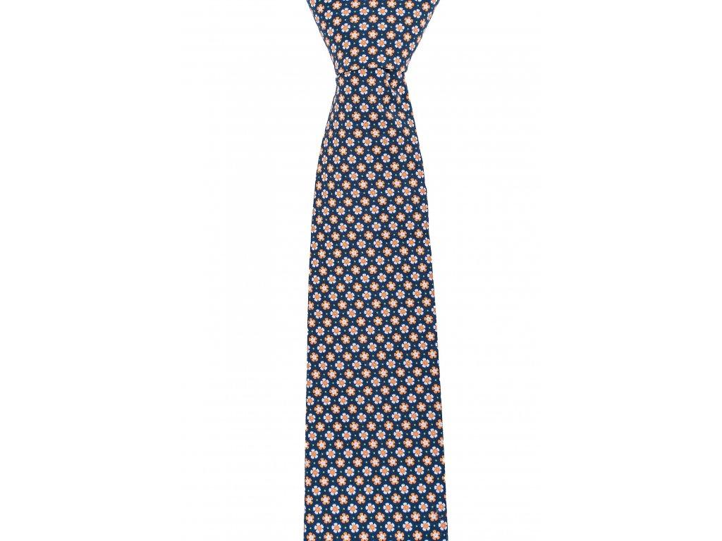 Černá twin kravata s oranžovými kytičkami