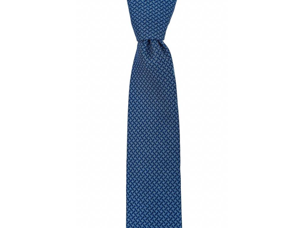 Modrá twin kravata s proplétaným vzorem