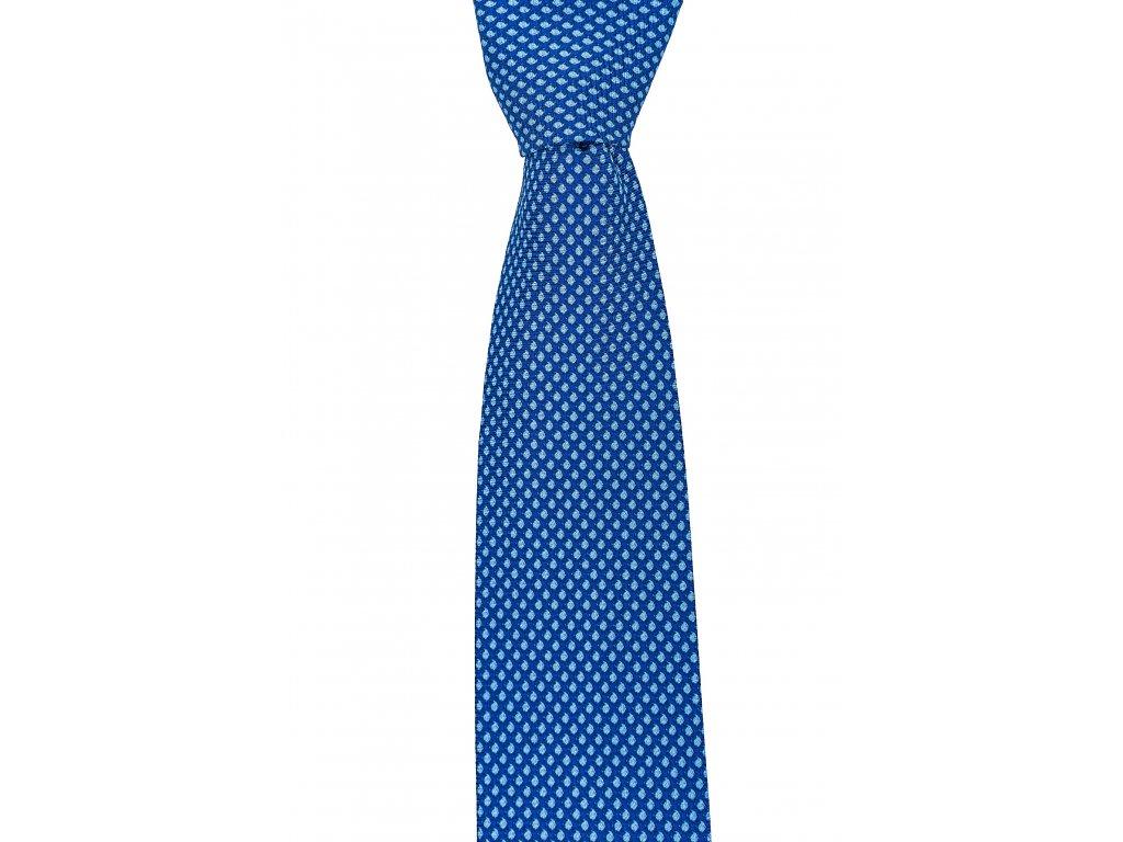 Tmavě modrá twin kravata s decentním bílým vzorem