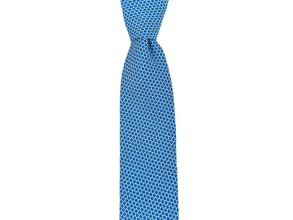 Modrá twin kravata s drobnými puntíky