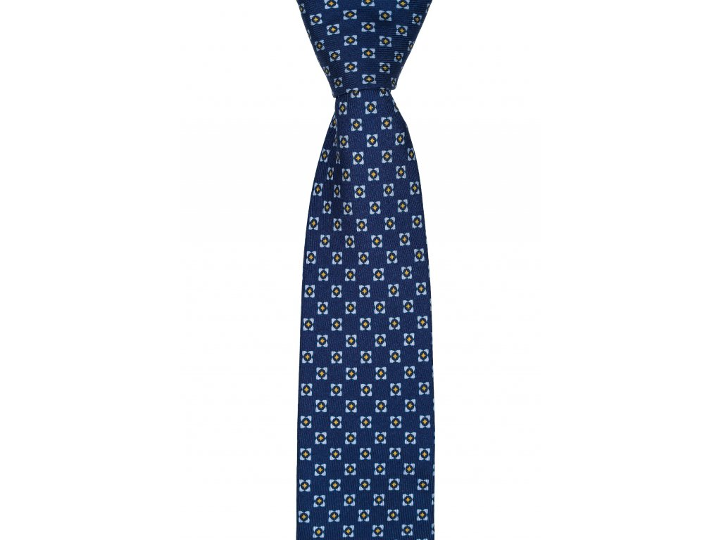 Tmavě modrá twin kravata s barevným vzorem