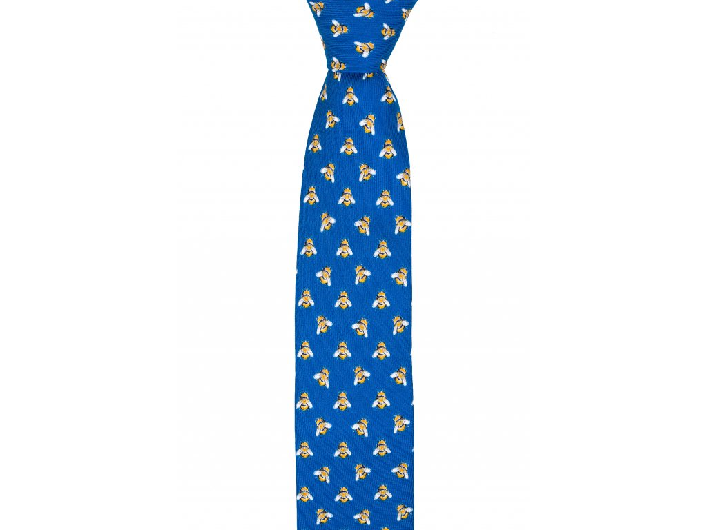 Modrá twin kravata s včelami