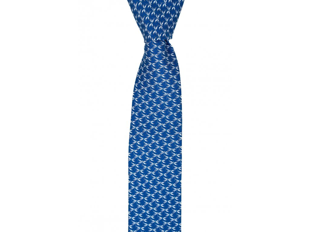 Modrá twin kravata s vážkami