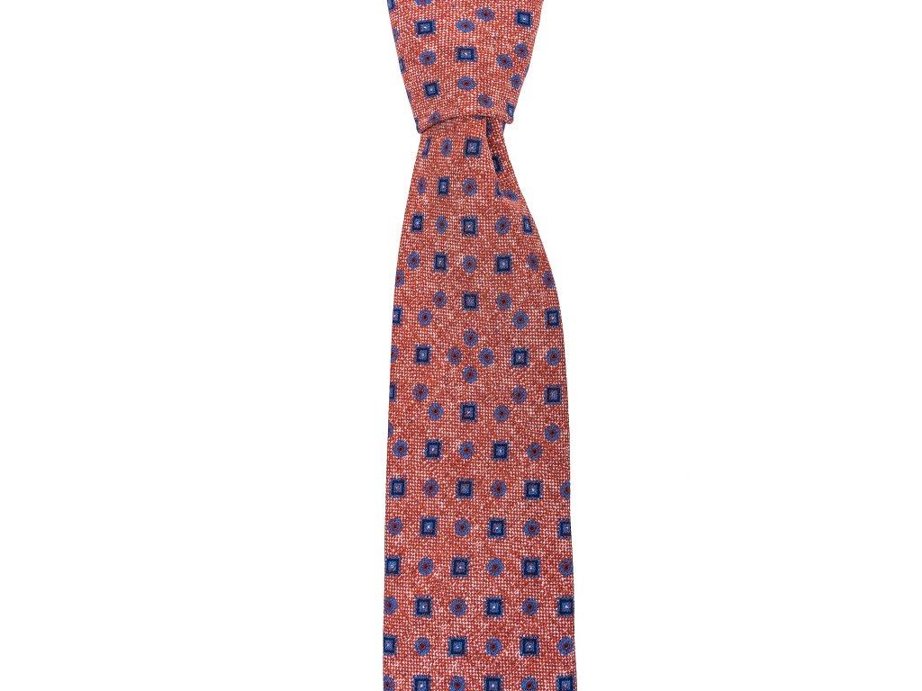 Červená twin kravata s modrým vzorem