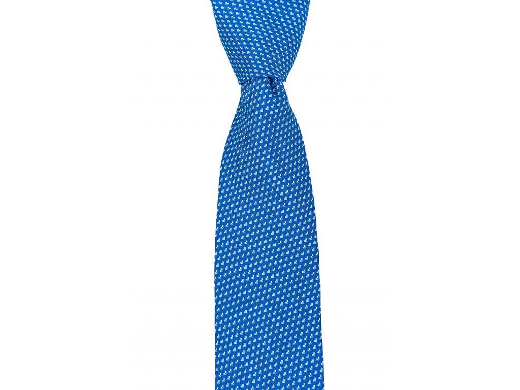 Modrá twin kravata s decentním vzorem