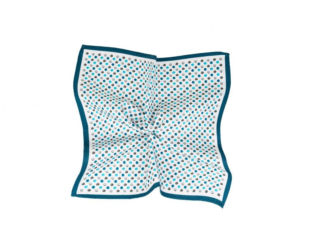 Bílý kapesníček s modro-šedými puntíky a modrým okrajem