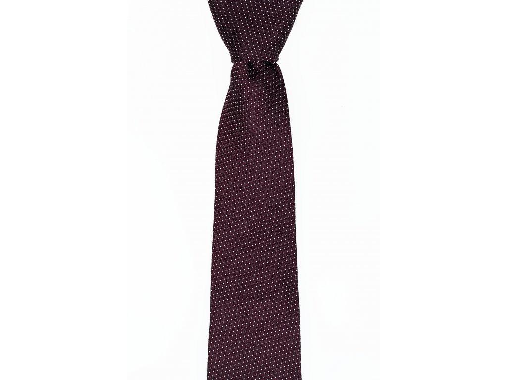 Vínová kravata s bílými tečkami