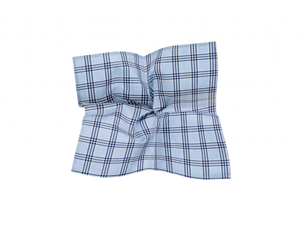 Světle modrý kapesníček s tmavě modrým kostkovaným vzorem