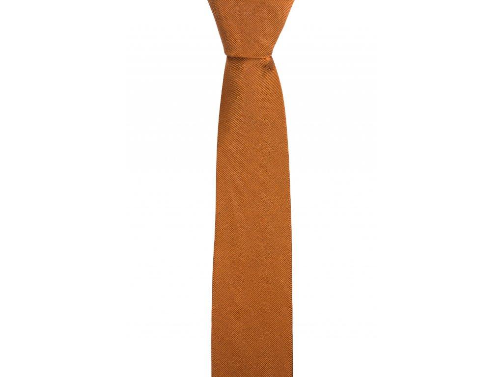 Tmavě zlatavá kravata s šikmou linií