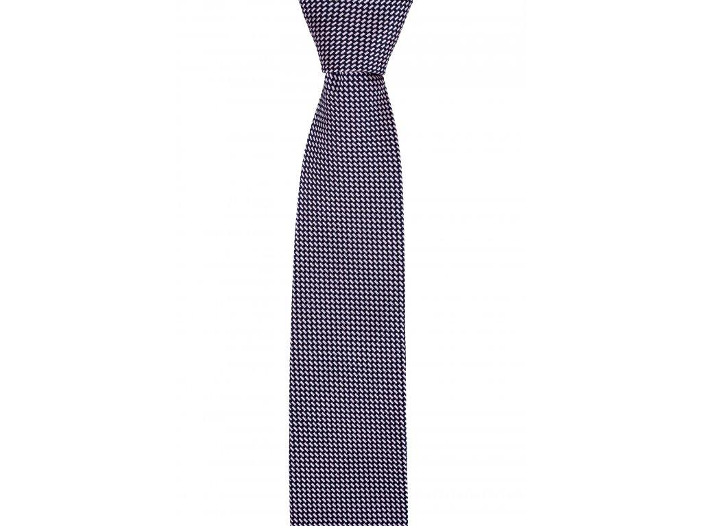 Tmavě modrá kravata s růžovým vzorem