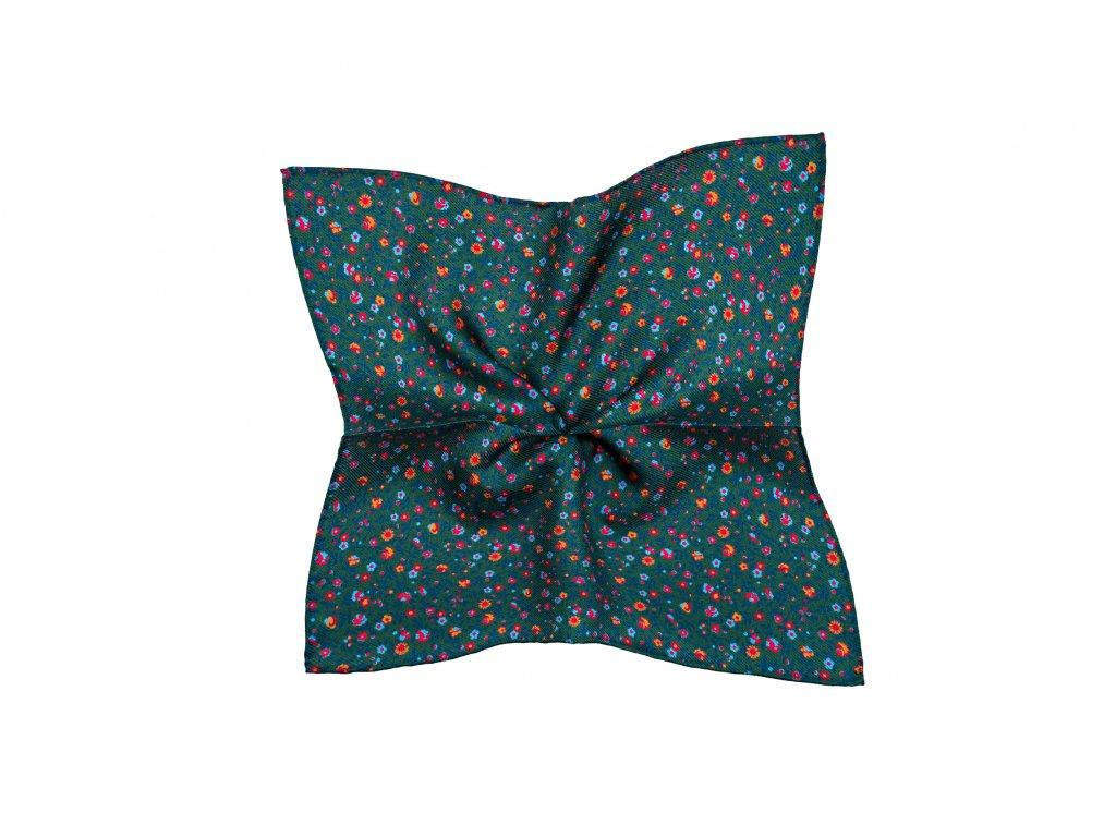 Tmavě zelený kapesníček s drobnějším květinovým vzorem