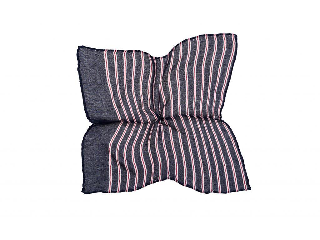 Tmavě modrý kapesníček s bílo-červenými proužky