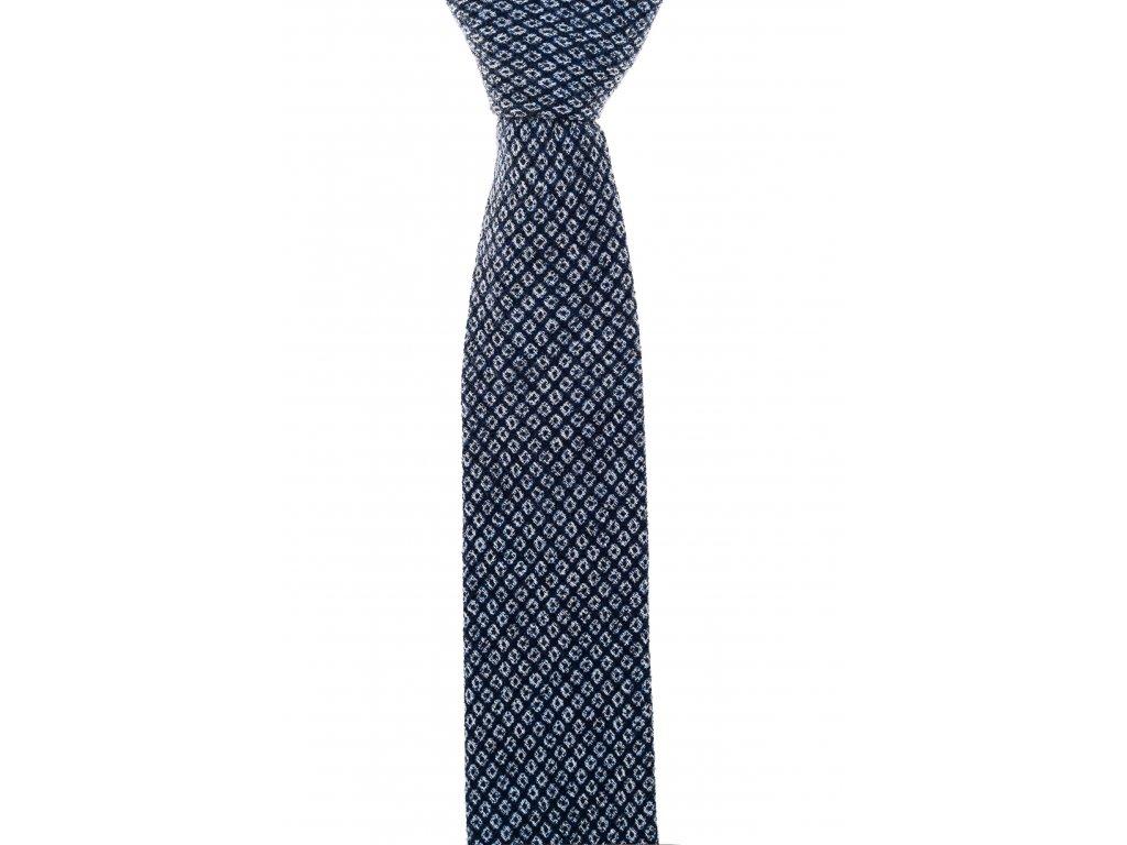 Tmavě modrá twin kravata s bílým vzorem