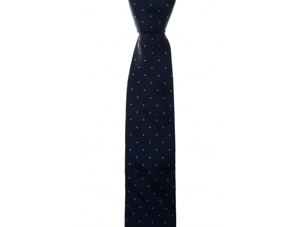 Tmavě modrá kravata s modrými puntíky