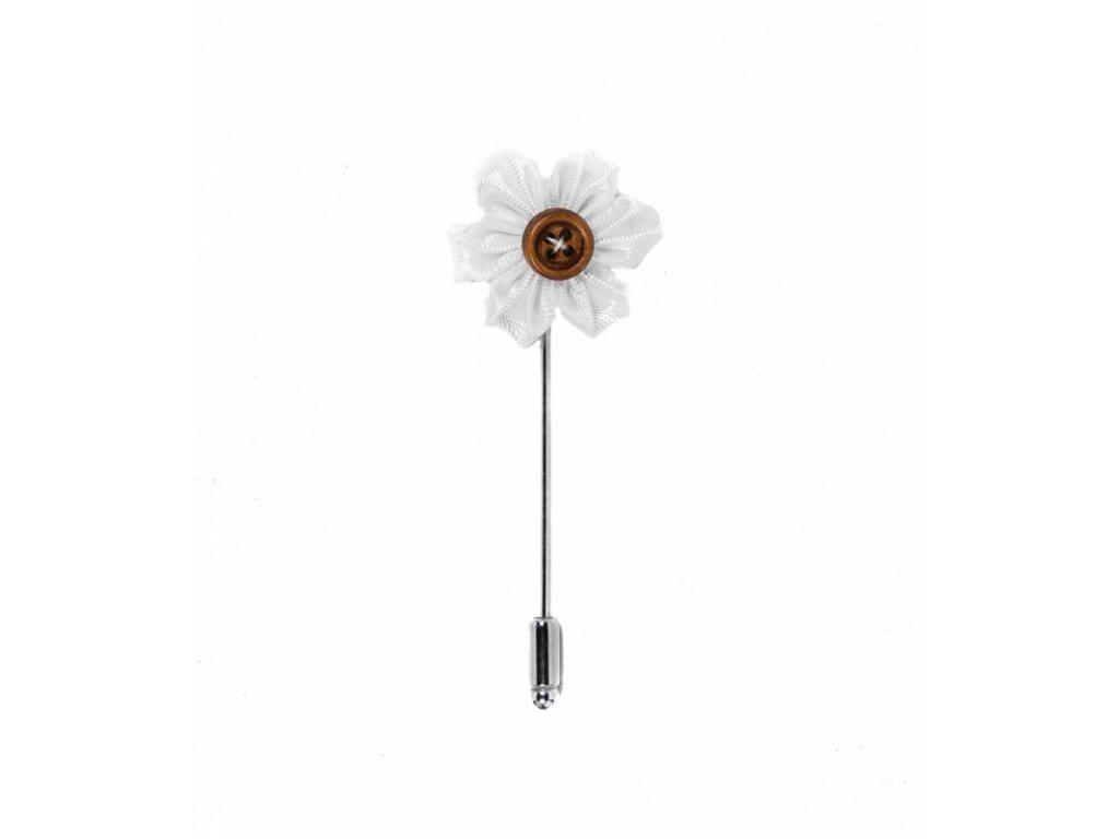 Bílá saténová květina do klopy