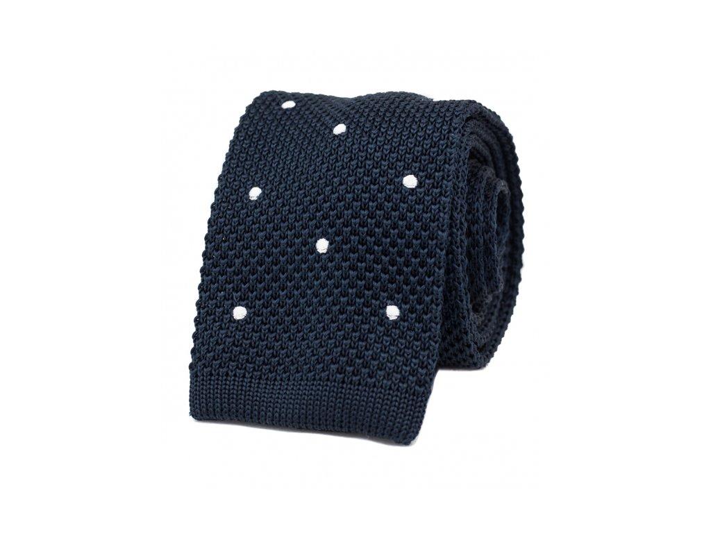 Tmavě modrá pletená kravata s puntíky