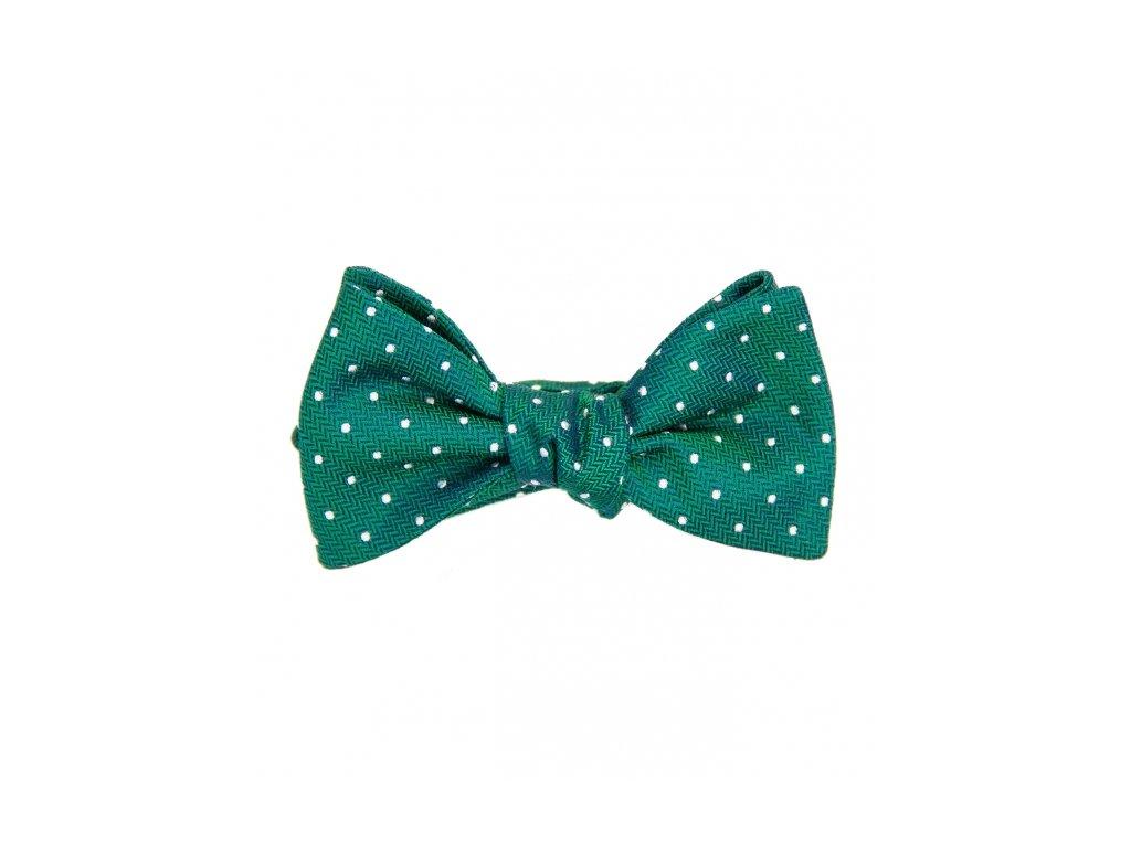 Zelený hedvábný motýlek s puntíky